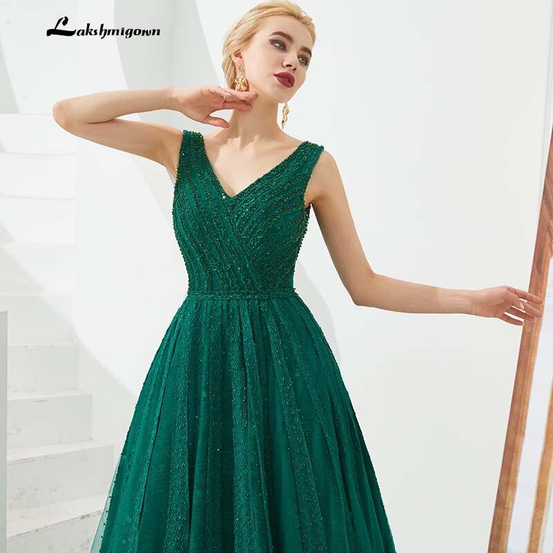 Mega Sale Purple Green Beading Prom Dresses Sleeveless V Neck Black Evening Dresses Floor Length Robes De Soiree Vestidos De Gala Largos September 2020