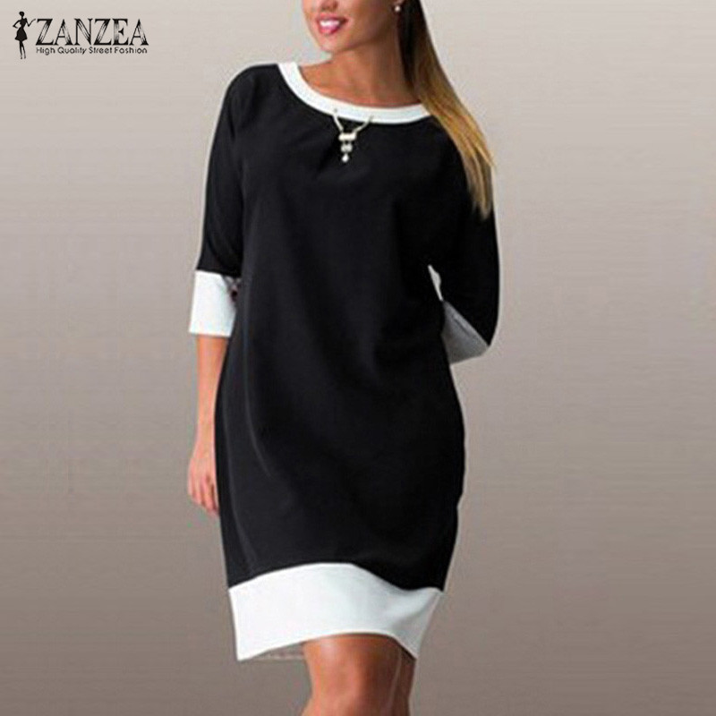 143955eff1d1 Detail Feedback Questions about ZANZEA 2018 Women Dress Casual Loose  Dresses Female Half Sleeve O Neck Patchwork Knee Length Autumn Femininas  Vestidos Plus ...