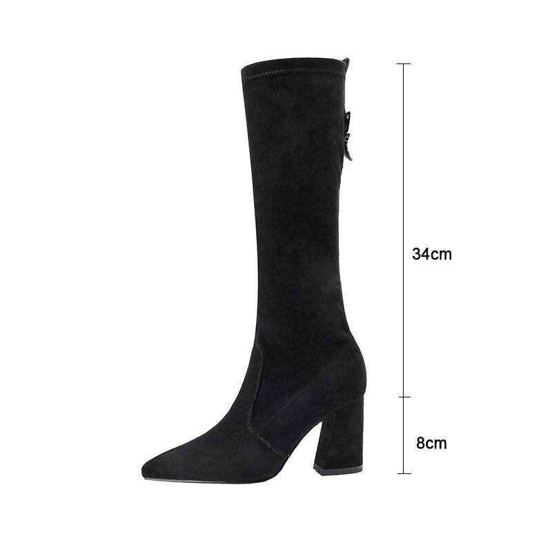 Pointu Stretch Slip as Femmes Bout Chaud Sur khaki Troupeau Peluche Haute Chaussures Genou noir 2018 Sexy Mode Apricot Photo Kcenid En D'hiver De Talons Bottes CxrBdWoe