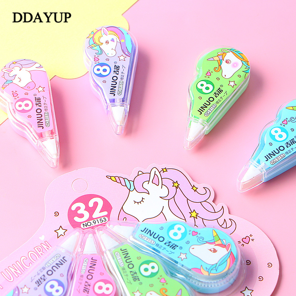 4Pcs/Pack Unicorn Correction Tape Promotional Gift Stationery Student Prize School Office Supply