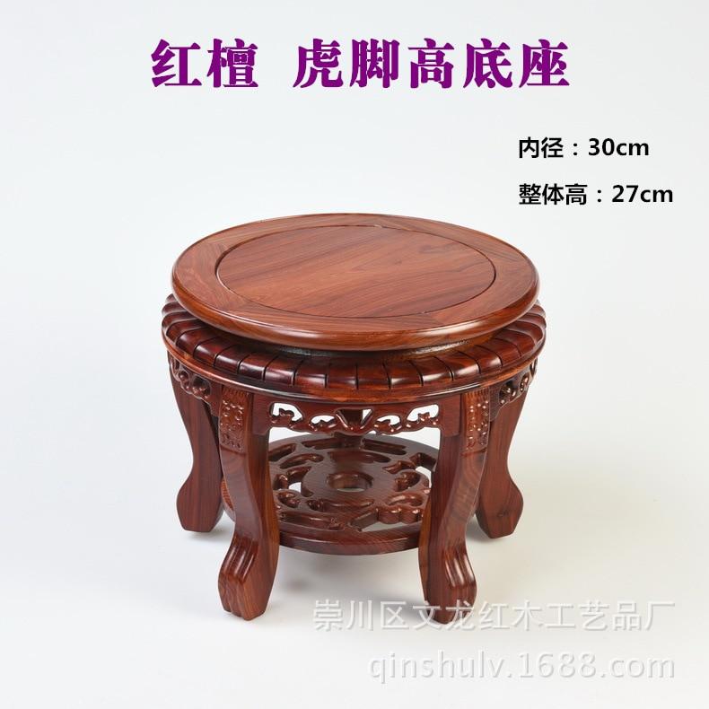 Red sandalwood tiger foot high circular base wood pedestal vase bonsai BuddhaRed sandalwood tiger foot high circular base wood pedestal vase bonsai Buddha