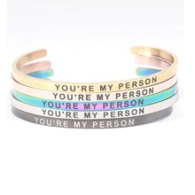4MM YOU ARE MY PERSON Stainless Steel Bangle Positive Inspirational Quote Cuff Mantra Bracelets for Lovers Jewelry