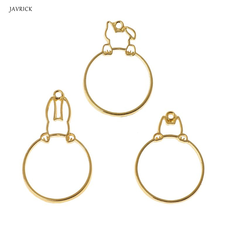 3Pcs Hidden Cat Dog Rabbit Round Hollow Frame Pendant Bezel Resin Jewelry Making