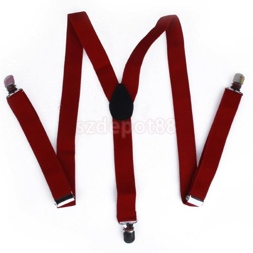 Clip-on Braces Elastic Y-back Suspender 37x1 Inch - Red