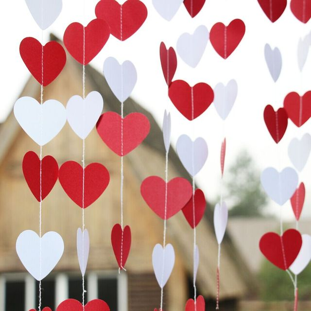 10 Diy Valentine S Day Gift And Home Decor Ideas: 5pcs White Red Heart Garland, Valentines Day Decor