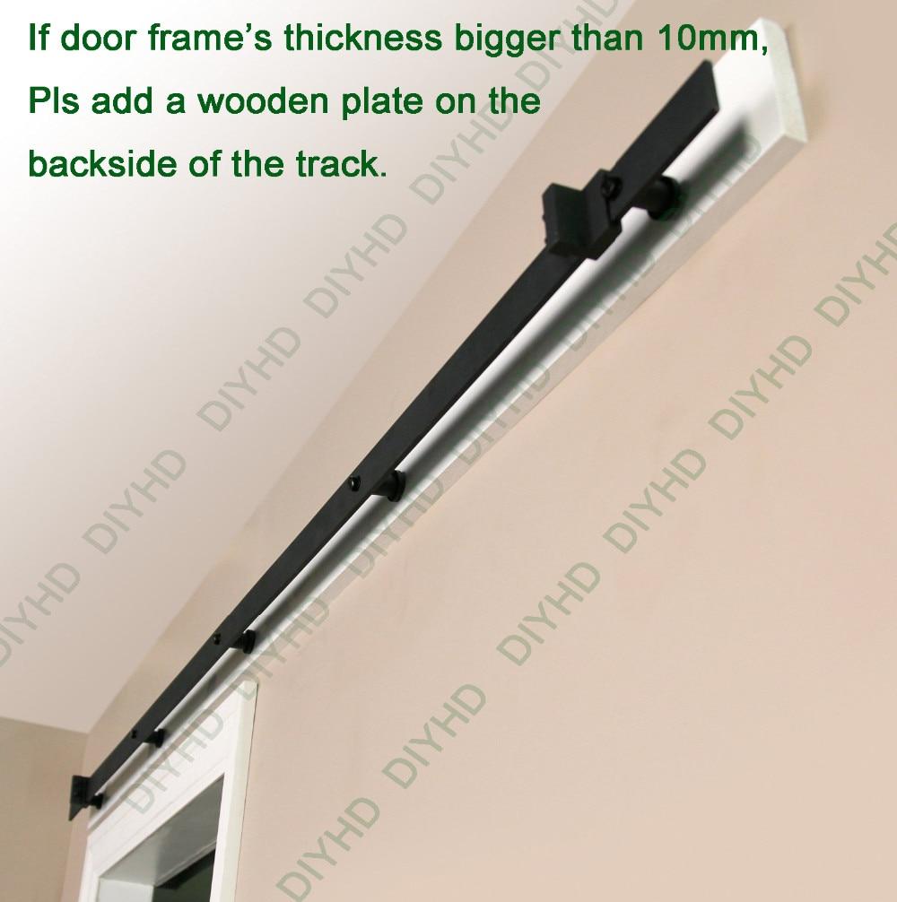 Купить с кэшбэком DIYHD 5FT-10FT Rustic Black Classic Sliding Barn Door Hardware Barn Wood Door Sliding Track Kit