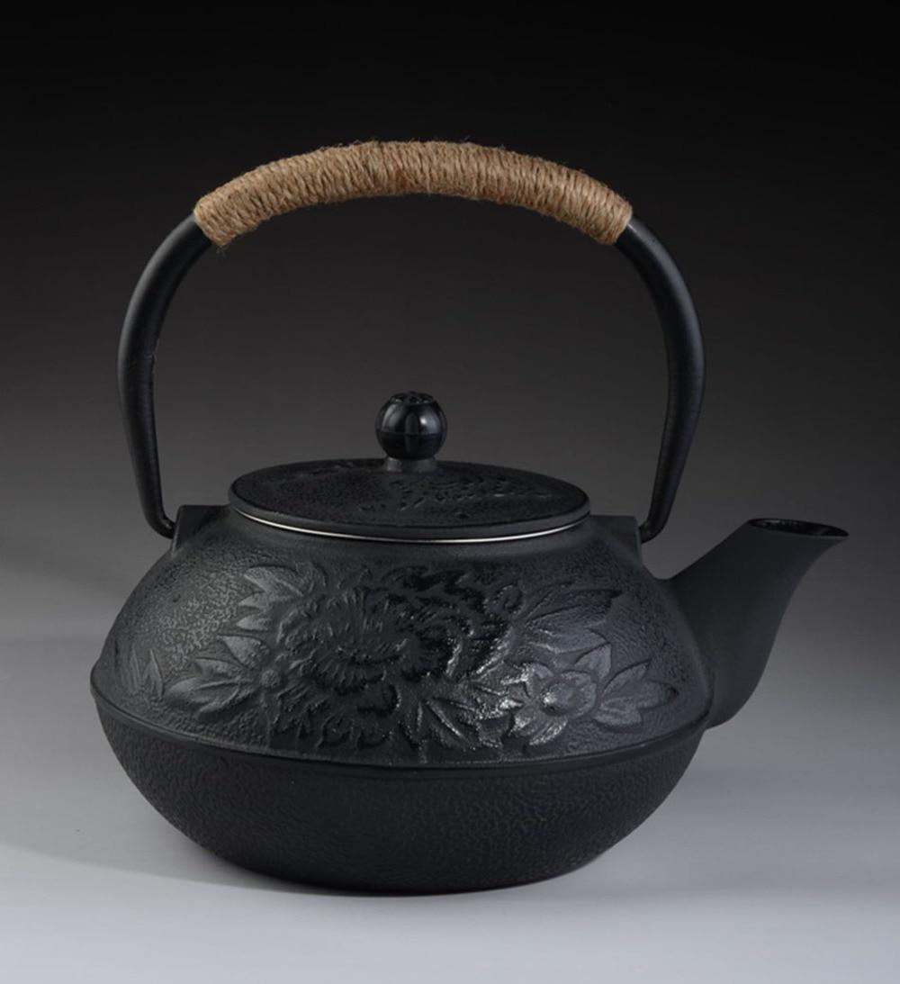 Cast Iron Tea pot Set Japanese TeaPot Tetsubin Kettle With Metal Net Filter 900ml Peony Kung Fu Tea Infusers Authentic Wholesale