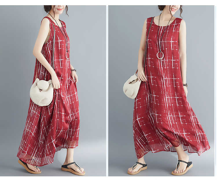 2019 Лето Новое дикое похудение большой размер свободное платье женское модное однотонное платье без рукавов в клетку vestidos плюс размер платье
