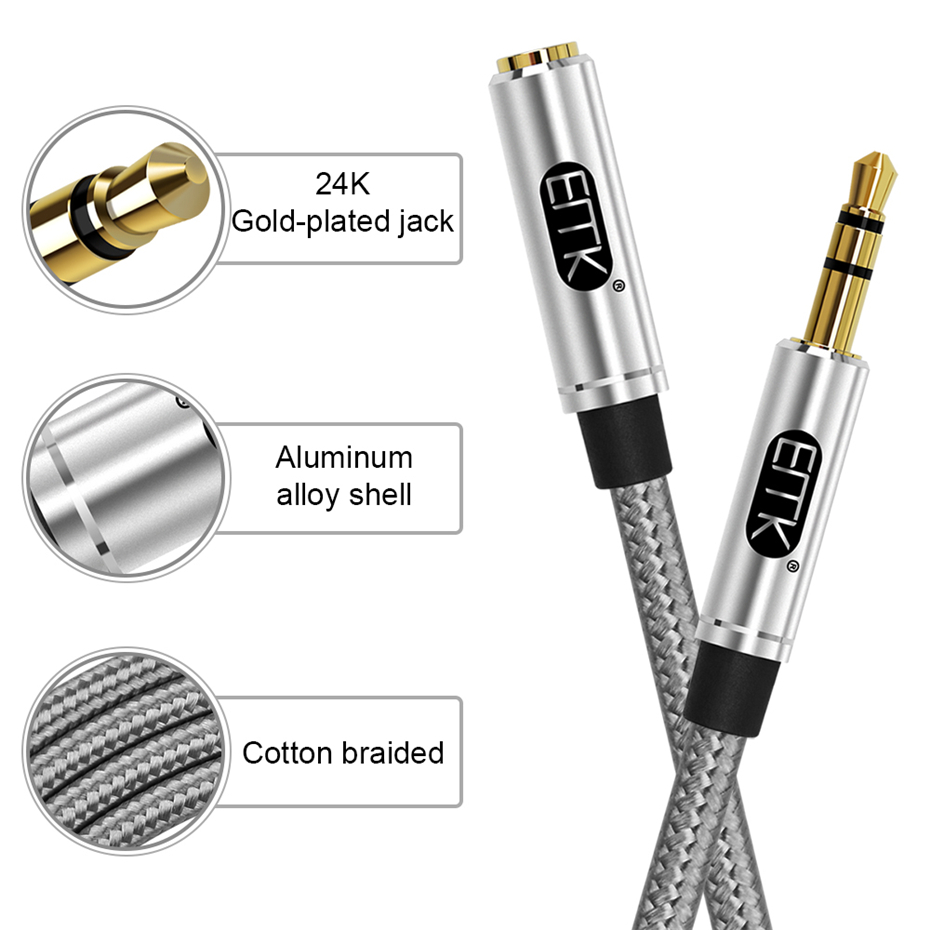 EMK Aux Cable Headphone Extension Cable 3.5mm Jack Male to Female For Computer Audio Cable 3.5mm Headphone Extender Cord (2)