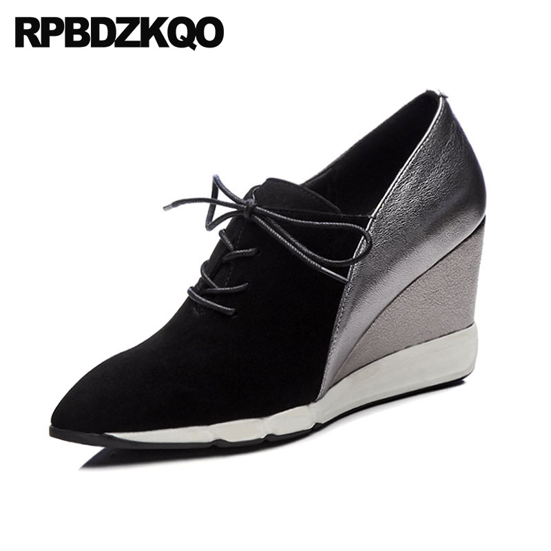 Suede Wedge Oxfords Women Pointed Toe Genuine Leather High Heels Lace Up Multi Colored 3 Inch Casual Pumps Gun Color China Shoes