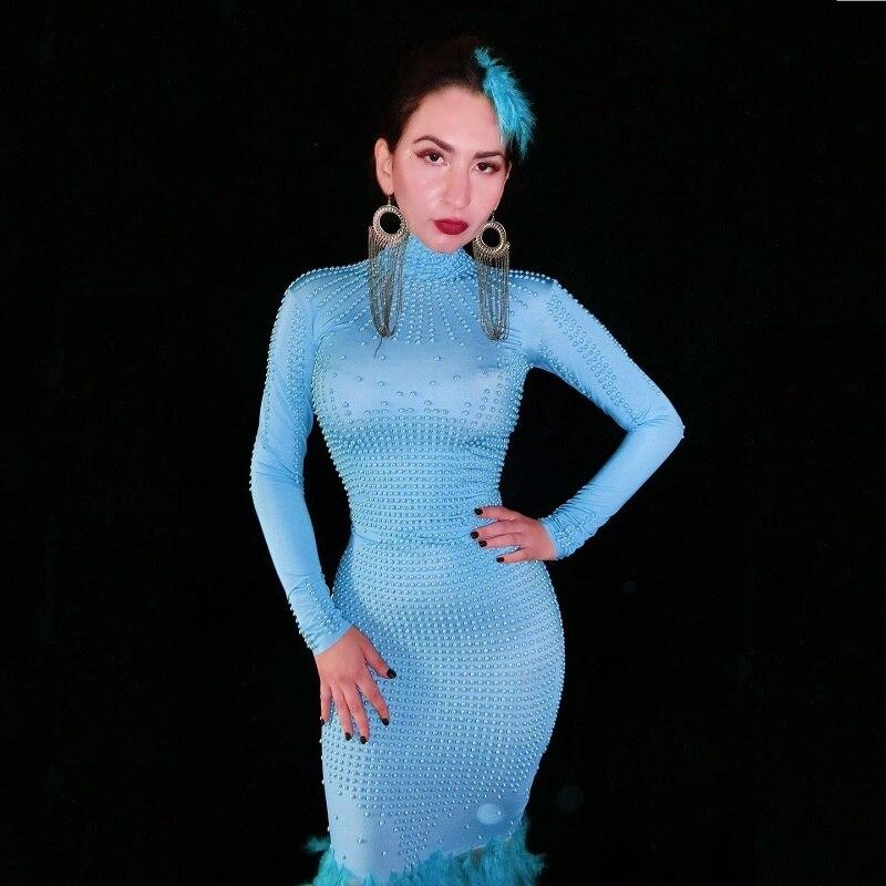 Mode cristaux maille robe strass Sexy Stretch scène danse porter soirée célébrer franges robe Costume - 4