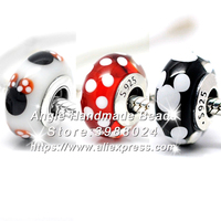 3pcs S925 Sterling Silver Core Mickey Minnie Signed Murano Glass Beads Fit European Charms Bracelet Necklace Jewelry Making