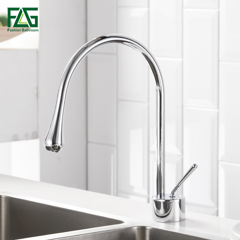 Kitchen Faucets Crane Chrome Finish Deck Mounted Mixer Tap Cold and Hot Kitchen Tap Single Hole Black Water Tap gizero free shipping orange spring kitchen faucet brushed nickle finish single handle hot cold water crane mixing tap gi2069