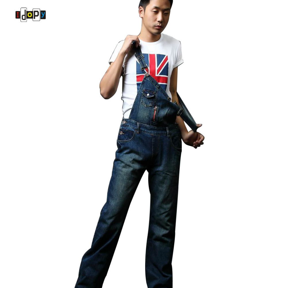 Plus Size Men`s Denim Bib Overalls Casual Straight Slim Fit Jeans Jumpsuit For Men Big and Tall 26-40 male suspenders jeans mens slim straight denim overalls men s ripped jeans casual hole blue bib jumpsuit plus size xxl 71306
