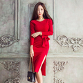 Winter Dresses Women 2017 Long Sleeve Pencil Dress Red Black Vintage Dress Bandage Evening Party Bodycon Dress Female Vestido