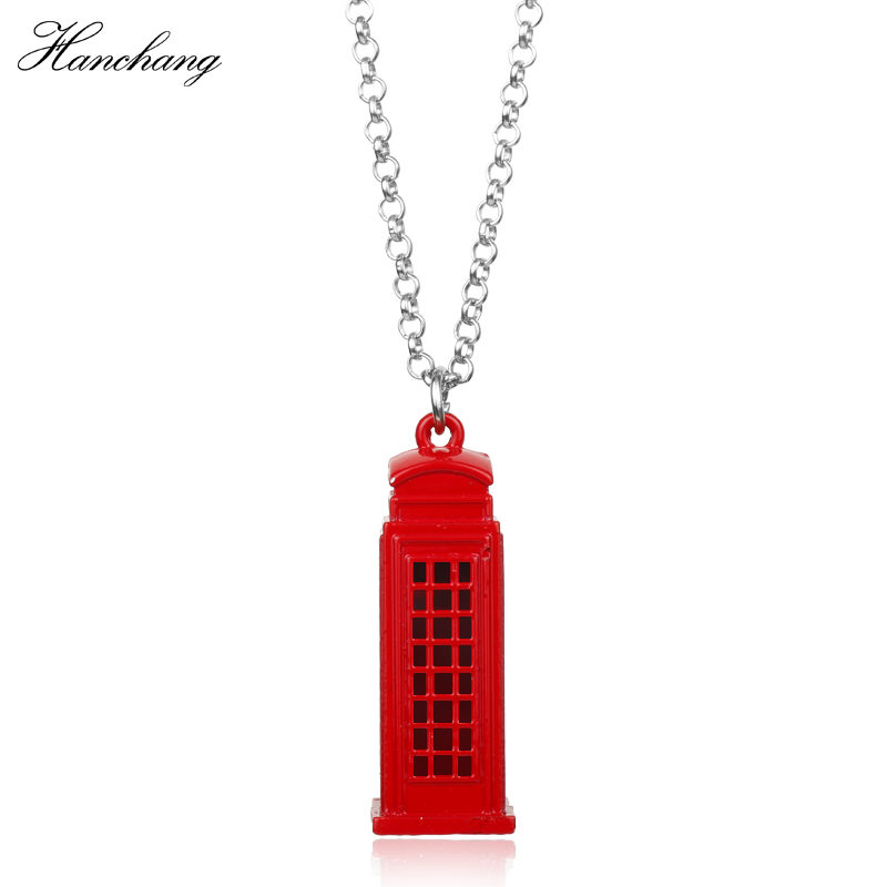 HANCHANG Movie Jewelry Doctor Who Dr. Mysterious Police Box House London Red Phone Booth Pendant Necklace Women Christmas Gift