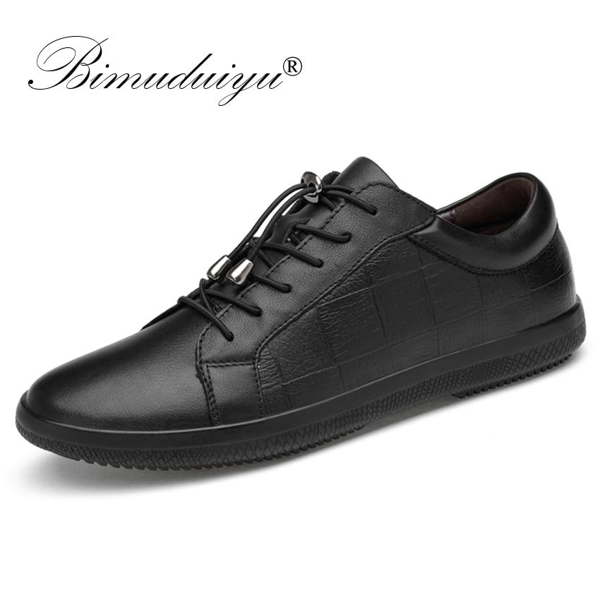 BIMUDUIYU брендовая мужская обувь из натуральной кожи на шнуровке, дышащая  мягкая Осенняя повседневная обувь b3bb0d6e2ae