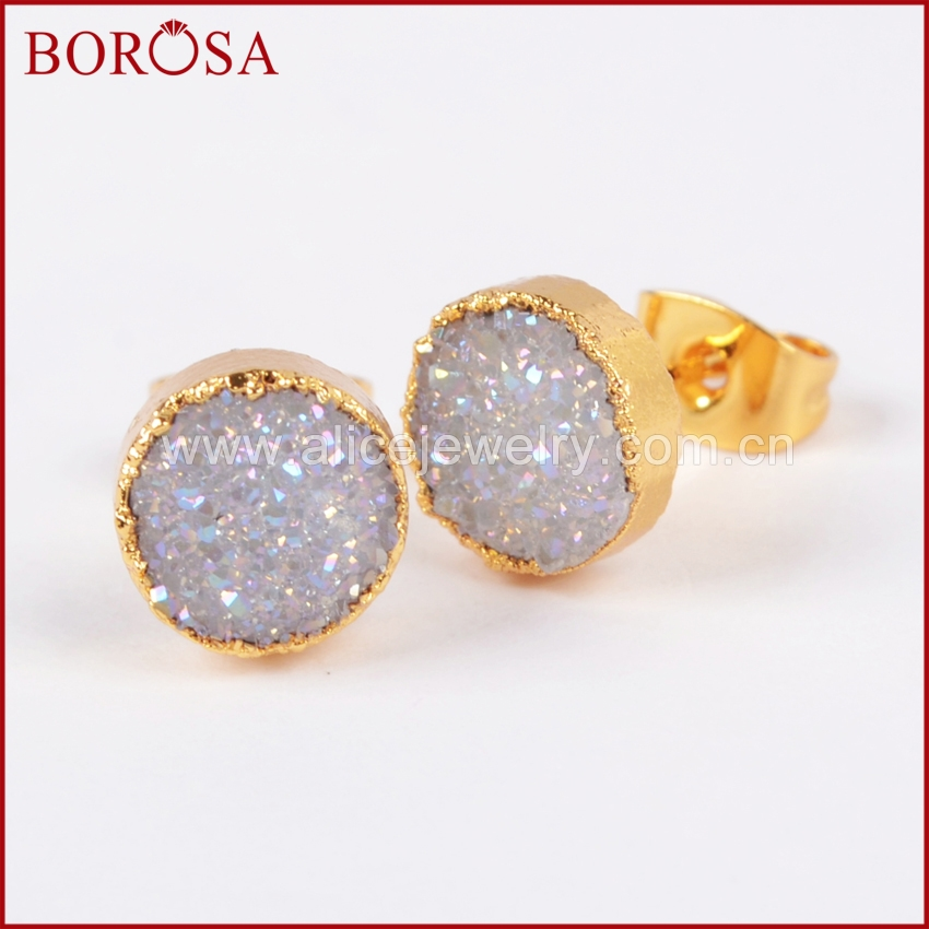 BOROSA 1Pair 8mm Gold Color Round Natural Stone Titanium AB Druzy Geode Stud Earrings New Drusy Earring Jewelry for Women G0680