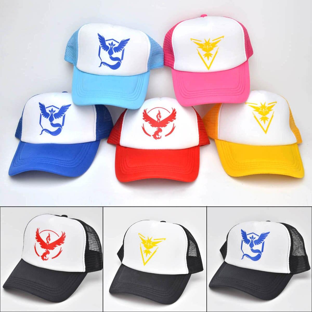 Hot Pokemon Go Team Baseball Hat Team  InstInct Valor Blue Yellow Red Embroider Cap Outdoor Visor Strapback snapback