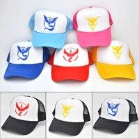 f665c7cde553e Hot Pokemon Go Team Baseball Hat Team InstInct Valor Blue Yellow Red  Embroider Cap Outdoor Visor