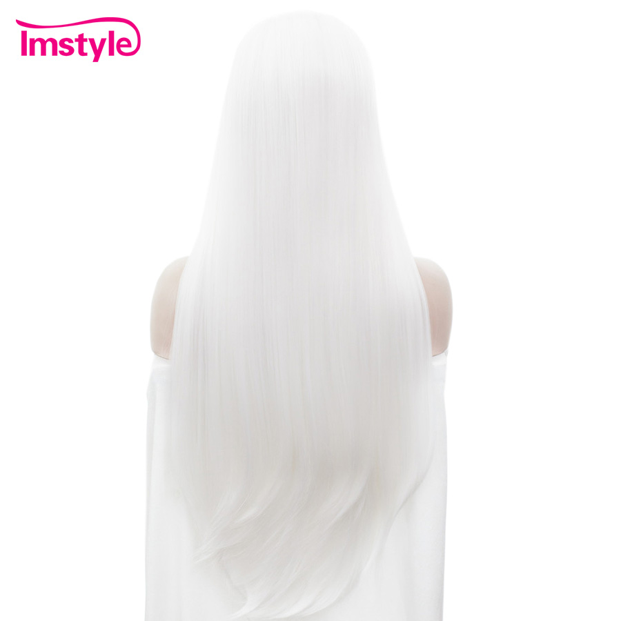 Imstyle White Long Straight Hair Lace Front Wig White Wigs For Women Synthetic Lace Wig Heat Resistant Fiber Cosplay Wig