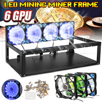 6 GPU 4 Fans Mining Computer Alloy Case Frame Rig 4 for 6 GPU ETH BTC ZEC Ethereum with Accessories
