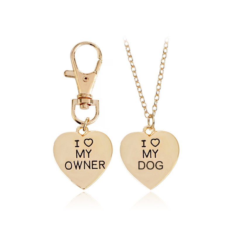 2Pcs/Set Gold And Silver Heart I Love My Master Dog Necklace Keychain Fashion Animal Best Friend Pet Dog Charm Male Lady Jewelry image