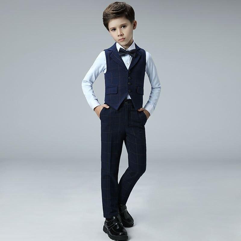 Nouveau bébé garçon costume pour mariage Piano fête enfants garçons Plaid gilet + pantalon + arc + chemise ensembles enfants garçons costumes vêtements formels 4 pièces Y109
