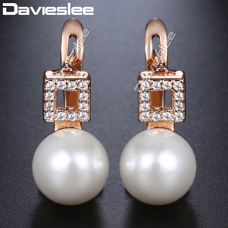 Davieslee Square Simulated Pearl Earrings For Women 585 Rose Gold Filled Paved Clear Cubic Zirconia Stud Earrings DGE173
