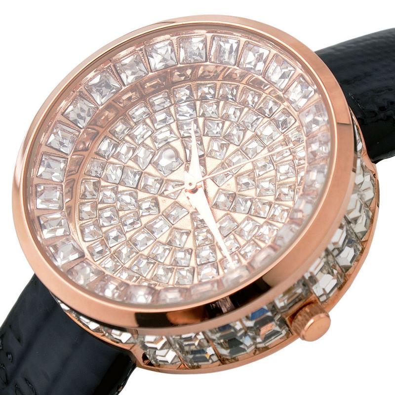 Mujeres GUOU reloj de lujo Bling correa de cuero genuino cristal de diamante completo cuarzo señoras reloj Mujer Relojes Casuales