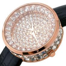 Mujeres Correa de Cuero Genuino Reloj de Lujo Lleno de Cristal Bling Del Diamante Señoras Del Cuarzo Analógico Reloj de pulsera de Mujer Relojes Relojes Casuales