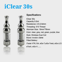 1pc iClear 30s Atomizer LEIQIDUDU 3.0ML Dual Coil Tank With Rotatable Drip Tip Coil Heads Replacable vs iclear 30 iclear16