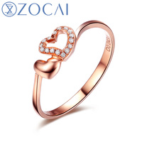 ZOCAI Ring heart shape 0.05 ct natural genuine diamond 18K rose gold ring fine jewelry W05344