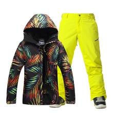 Men Ski Suit Snowboard Jacket+Pant Windproof Waterproof Outdoor Sport Wear Thicken Thermal Super Warm Male Clothing New Suit Set