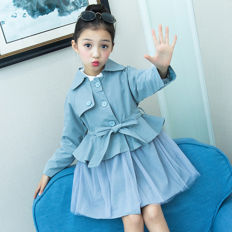 2018 Autumn Toddler Girls Long Trench Outerwear Coats Children's Long Trench Coat Kids Long Sleeve Coat Windbreaker 9 10 12 Year цены
