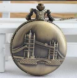 Винтаж бронза антиквариат подвесной мост флип часы хорошее качество стимпанк карманные часы