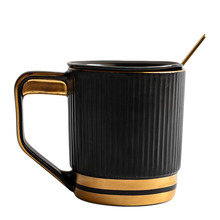 Nordic Fashion Cup Simple Striped Mug Office Ceramic Coffee Water Glass Phnom Penh 420ML