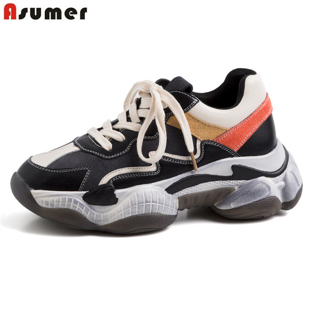 ASUMER Size 35-42 New 2019 Genuine Leather Shoes Women Sneakers Lace Up Platform Shoes Ladies Sneakers Casual Shoes Ladies trainers