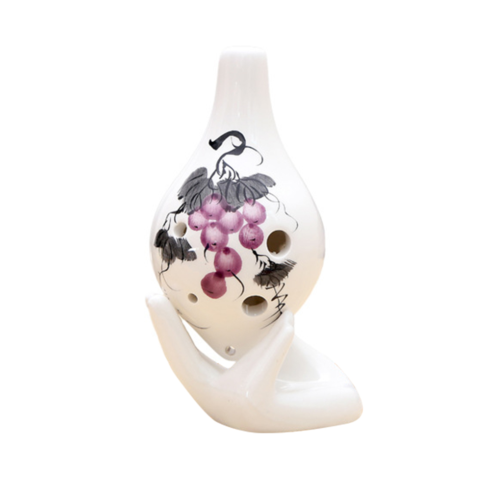 Ocarina 6 Holes Flower Pattern Ceramic AC Key Musical Instrument For Beginner C55K Sale