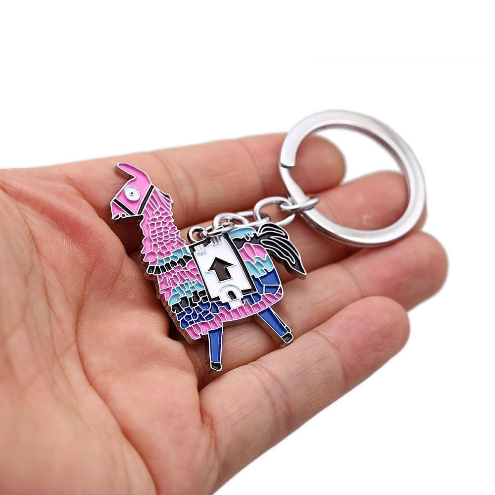 J Store Battle Royale Keychain Oil Painting Charms Axe Alpaca Model Metal Pendant Key Chain Figure Chaveiro Llavero 13011