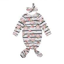 Наряды для новорожденных девочек, Детский комбинезон с цветочным принтом, повязка на голову, одежда из 2 предметов