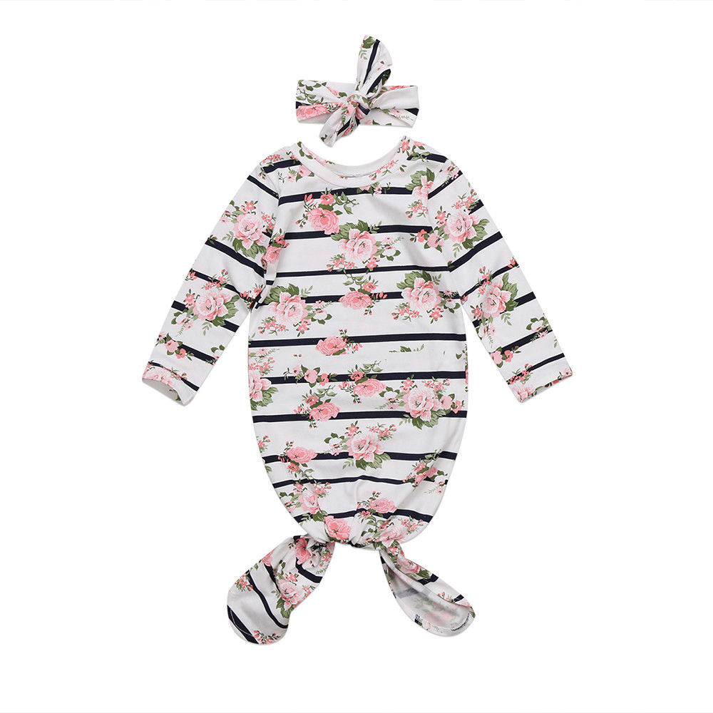 Newborn Infant Baby Girls Outfits Floral Sleeping Bag Romper Headband 2Pcs Clothes