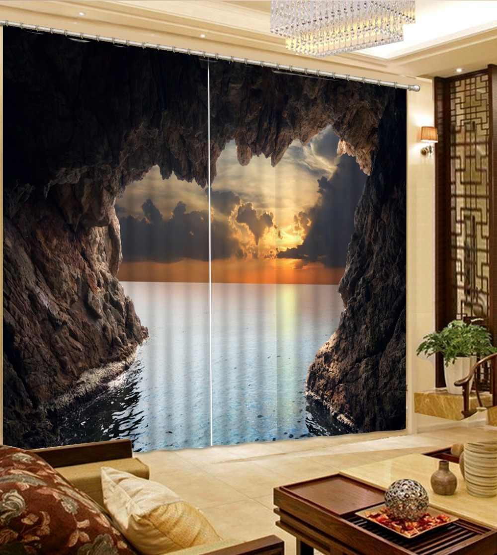 Photo Curtains Creative sea landscape Curtain Fabric beautiful Sheer Curtains For The Living room Bedroom