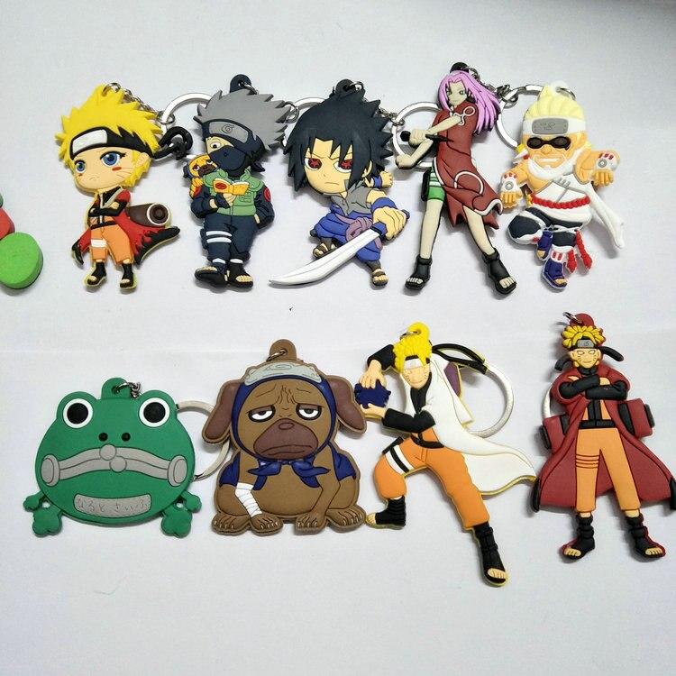 Naruto Double-Side Soft Rubber Keychain  Uzumaki Naruto Uchiha Sasuke Haruno Sakura Hatake Kakashi Model Pendant Key Chain