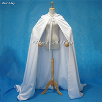 Plus Size White Ivory Champagne Hooded Medieval Cloak Satin Cape Full Length Wedding Cape Bridal Cloak
