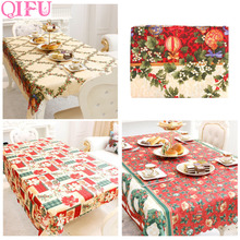 QIFU 1.5x1.8m Table Runner Merry Christmas Decorations For Home 2019 Navidad Party Accessories