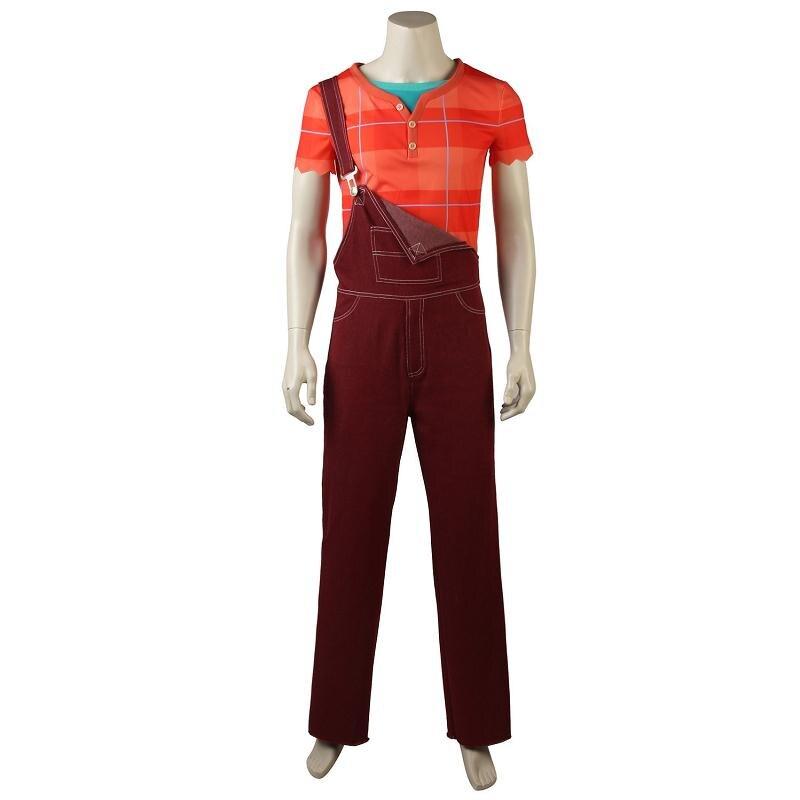 Wreck-It Ralph2 Cosplay Costume T-shirt Ralph Breaks the Internet Halloween Short Sleeves Rompers Men Adult Man Party Orange Red