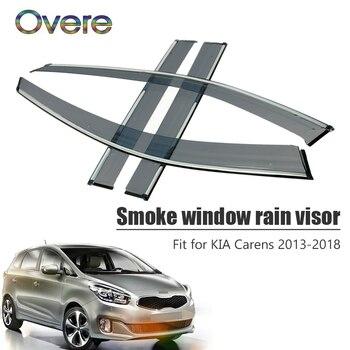 Overe 4Pcs/1Set Smoke Window Rain Visor For Kia Carens 2013 2014 2015 2016 2017 2018 ABS Awnings Shelters Guard Accessories