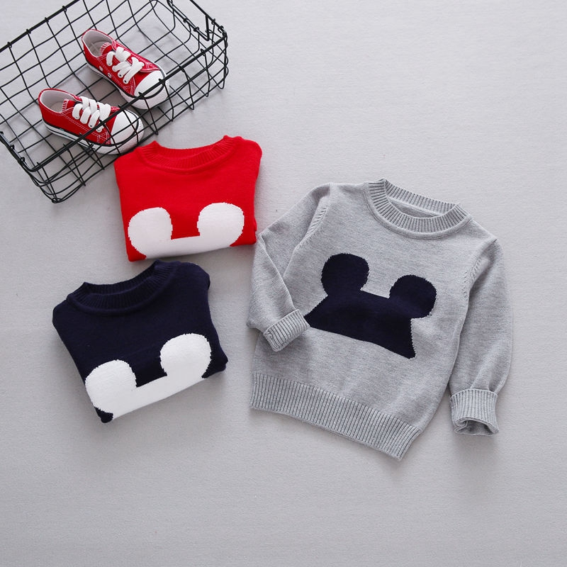 2017 Autumn Baby Girls Cute Cartoon Long Sleeve O Neck Pullover Knitwear Sweater Boys Kids Knitted Outerwear