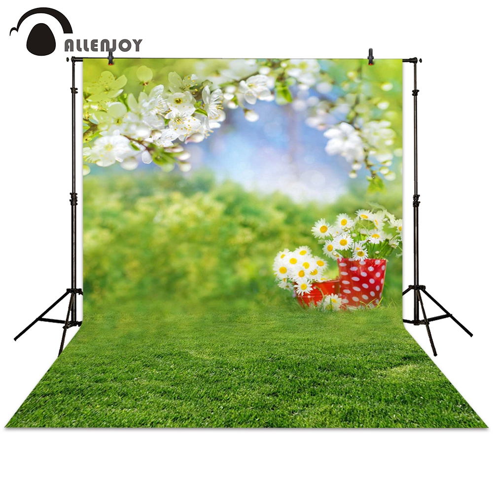 Фото Allenjoy photography backdrop spring grass white flower bokeh green background photocall photographic photo studio